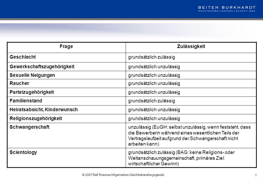 © 2007 Ralf Roesner/Allgemeines Gleichbehandlungsgesetz 2 FrageZulässigkeit Schwerbehinderung(bislang) zulässig BehinderungInteressenabwägung im Einzelfall Vorstrafengrundsätzlich unzulässig Schufa-Auskunftgrundsätzlich unzulässig Führungszeugnisgrundsätzlich unzulässig Einstellungsuntersuchunggrundsätzlich unzulässig Kinderzulässig Handynummergrundsätzlich unzulässig
