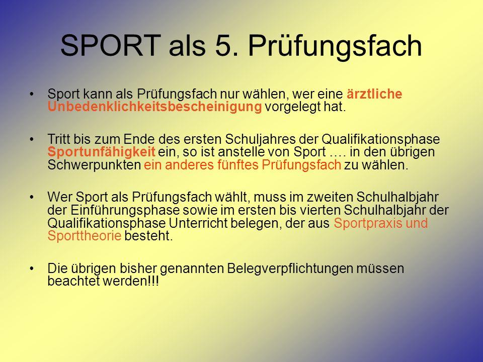 SPORT als 5. Prüfungsfach Sport kann als Prüfungsfach nur wählen, wer eine ärztliche Unbedenklichkeitsbescheinigung vorgelegt hat. Tritt bis zum Ende