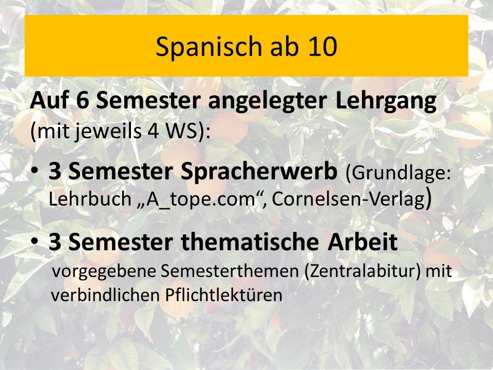 Auf 6 Semester angelegter Lehrgang (mit jeweils 4 WS): 3 Semester Spracherwerb (Grundlage: Lehrbuch A_tope.com, Cornelsen-Verlag ) 3 Semester thematis