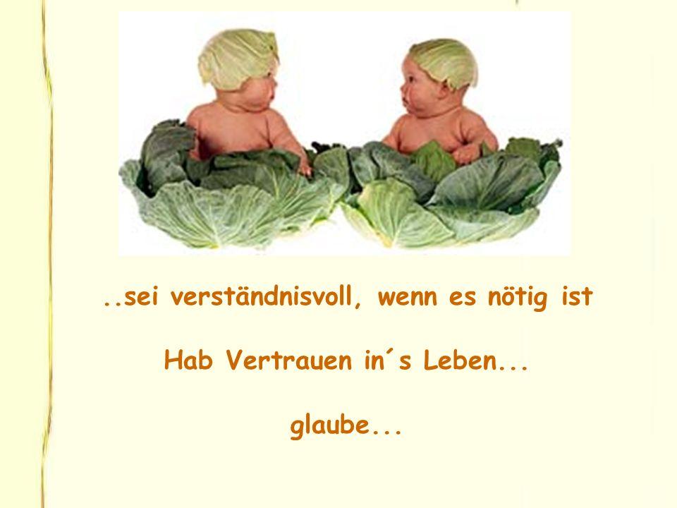 ..sei verständnisvoll, wenn es nötig ist Hab Vertrauen in´s Leben... glaube...