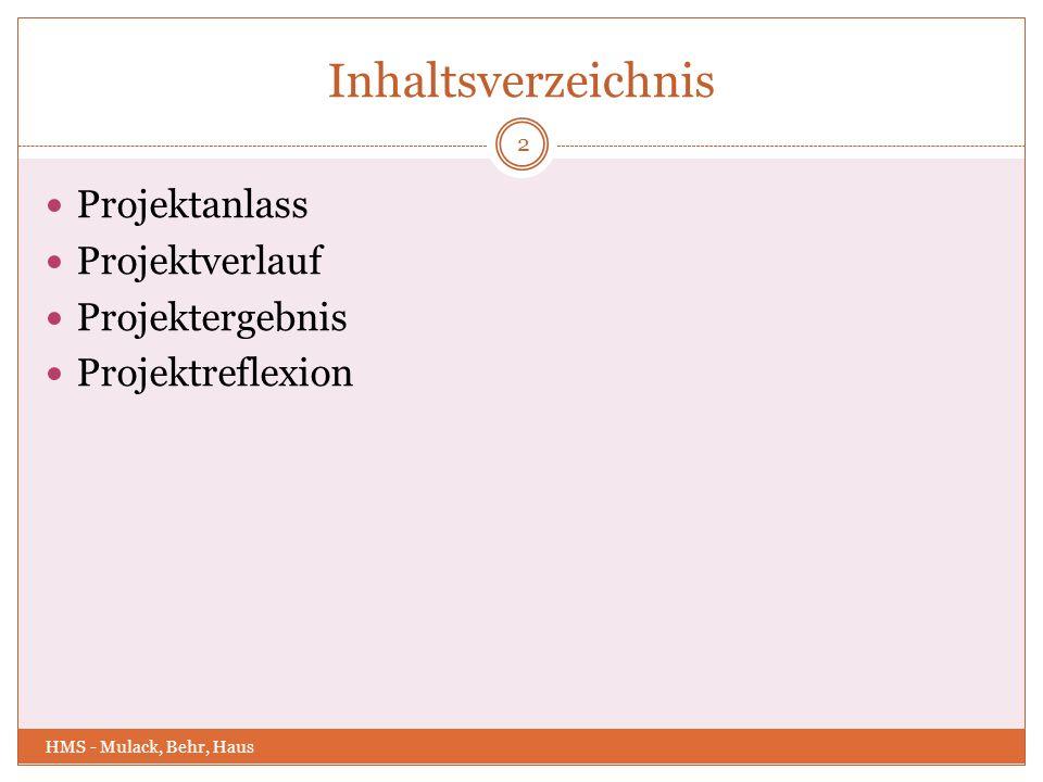Inhaltsverzeichnis Projektanlass Projektverlauf Projektergebnis Projektreflexion 2 HMS - Mulack, Behr, Haus