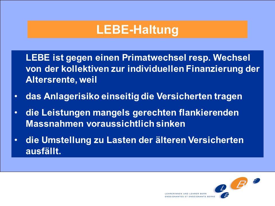 LEBE-Haltung LEBE ist gegen einen Primatwechsel resp. Wechsel von der kollektiven zur individuellen Finanzierung der Altersrente, weil das Anlagerisik