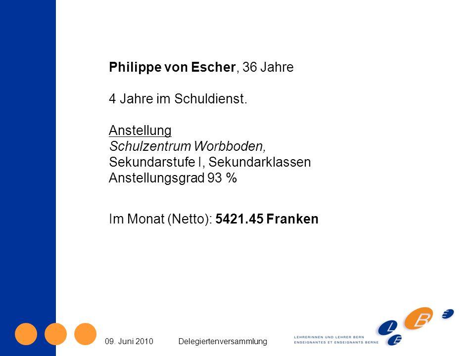 09. Juni 2010Delegiertenversammlung Philippe von Escher, 36 Jahre 4 Jahre im Schuldienst. Anstellung Schulzentrum Worbboden, Sekundarstufe I, Sekundar