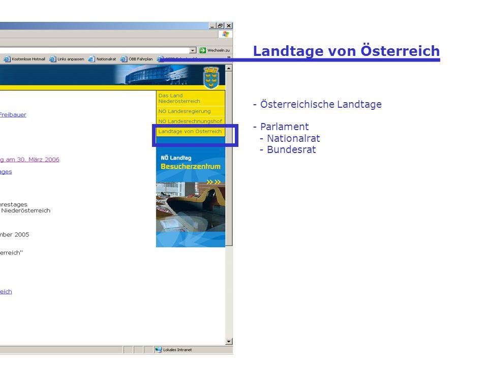 Landtage von Österreich - Österreichische Landtage - Parlament - Nationalrat - Bundesrat