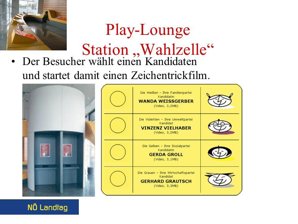 Play-Lounge Station Wahlzelle Der Besucher wählt einen Kandidaten und startet damit einen Zeichentrickfilm.