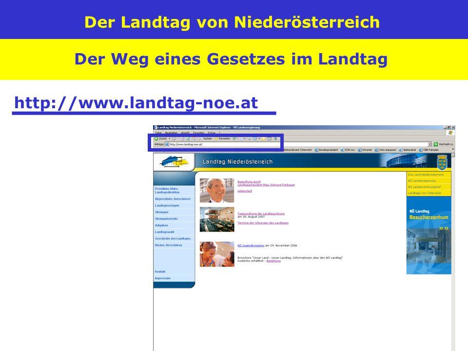Der Landtag von Niederösterreich Der Weg eines Gesetzes im Landtag http://www.landtag-noe.at