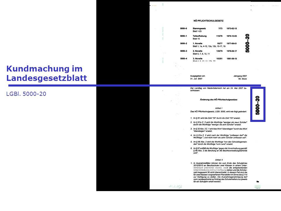 Kundmachung im Landesgesetzblatt LGBl. 5000-20
