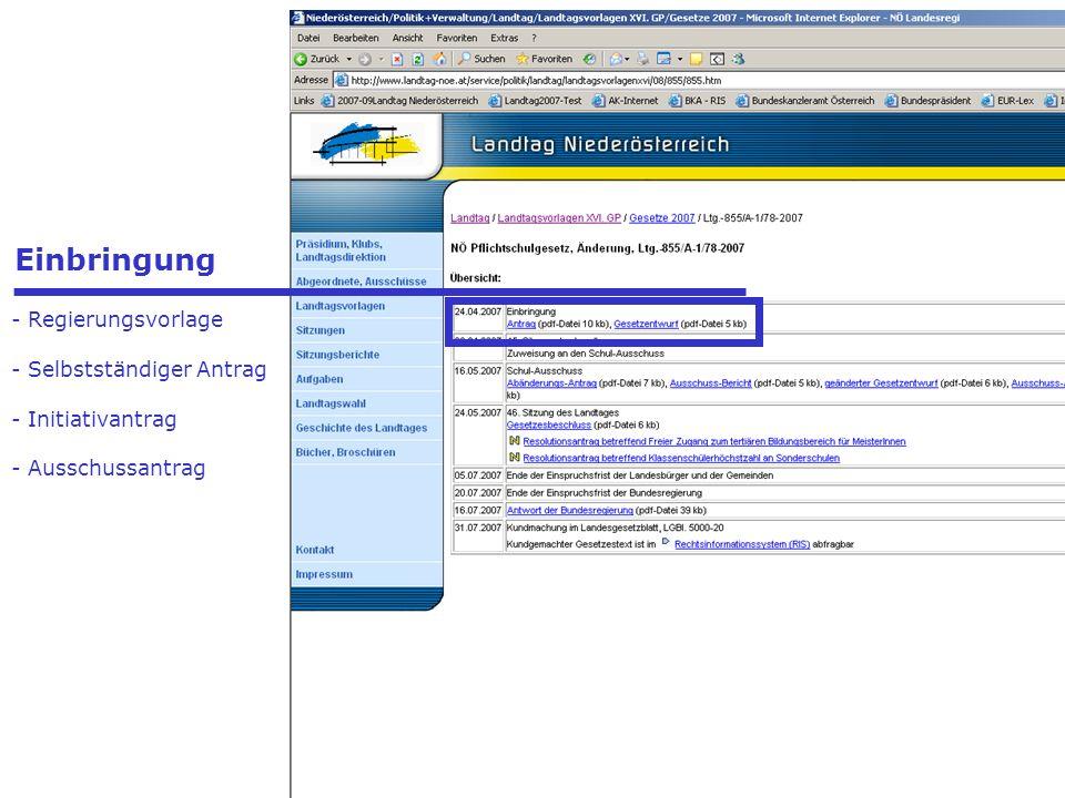 - Präsidenten - Landtagsdirektor - Landtagsdirektion - Landtagsklubs Einbringung - Regierungsvorlage - Selbstständiger Antrag - Initiativantrag - Auss