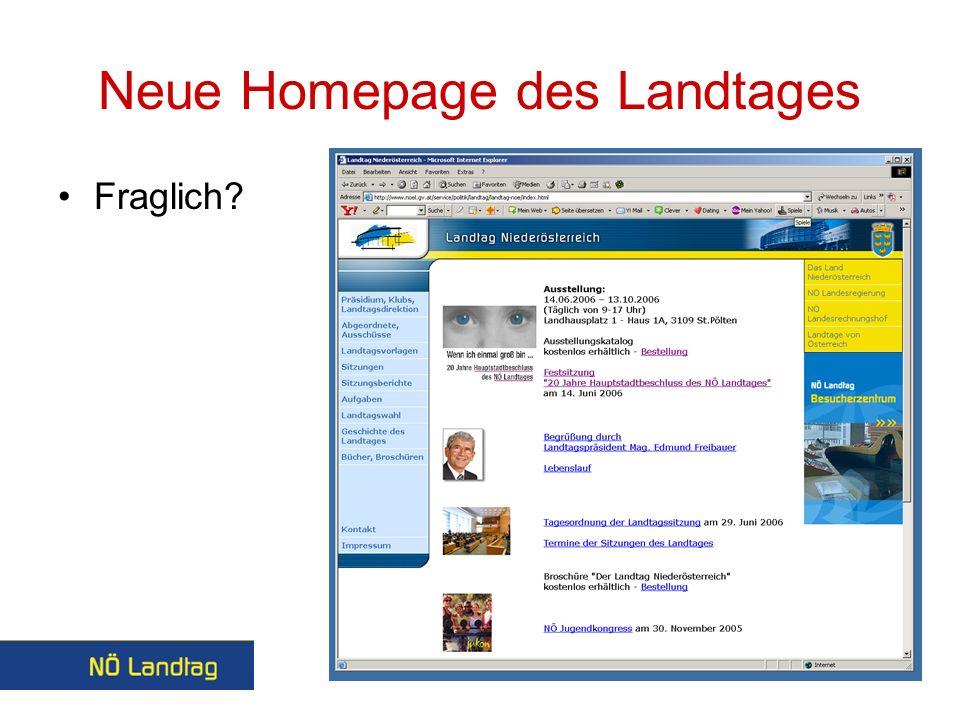 Neue Homepage des Landtages Fraglich?