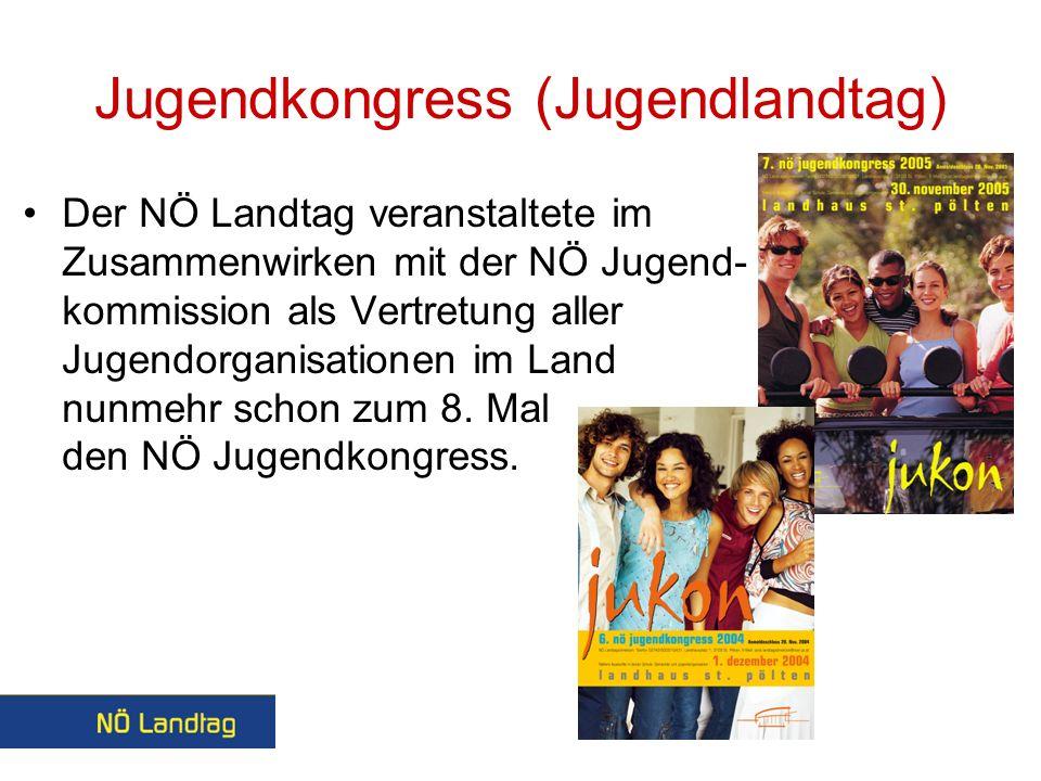 Jugendkongress (Jugendlandtag) Der NÖ Landtag veranstaltete im Zusammenwirken mit der NÖ Jugend- kommission als Vertretung aller Jugendorganisationen im Land nunmehr schon zum 8.