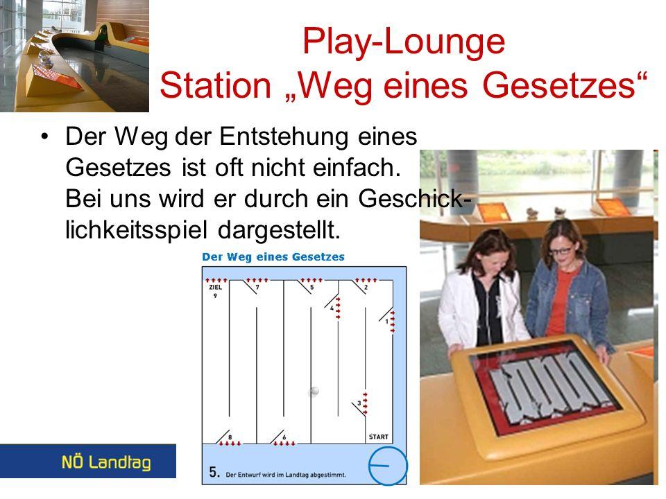 Play-Lounge Station Weg eines Gesetzes Der Weg der Entstehung eines Gesetzes ist oft nicht einfach.
