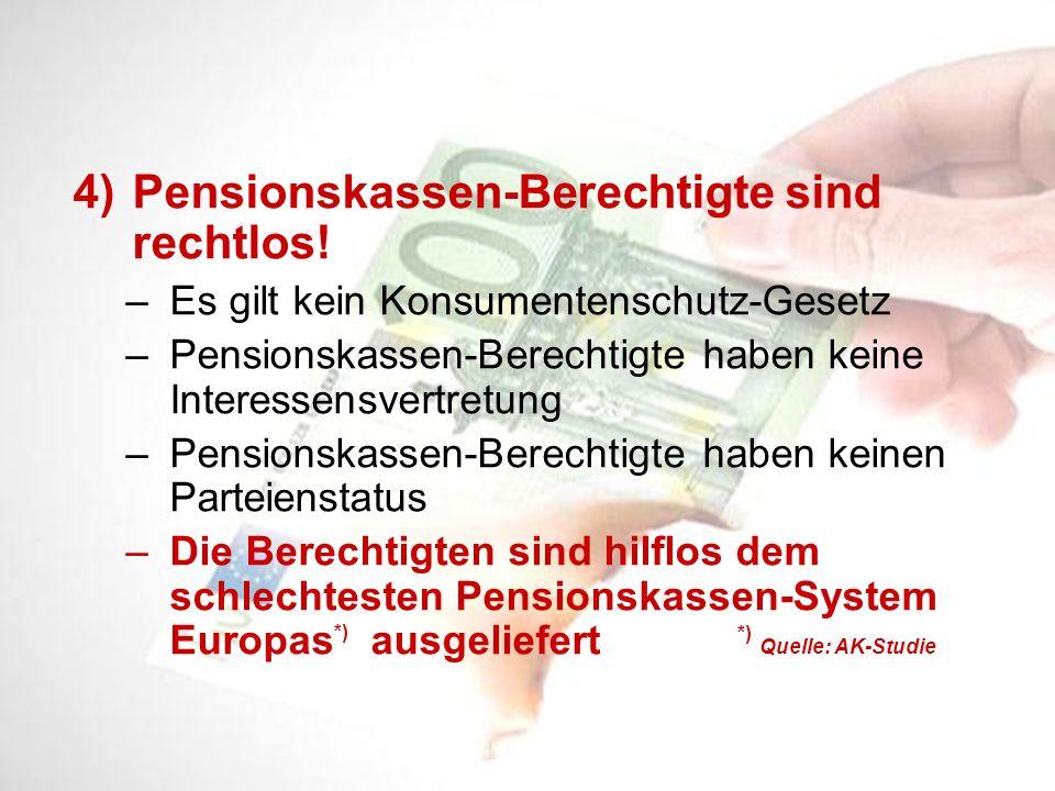 4)Pensionskassen-Berechtigte sind rechtlos! – Es gilt kein Konsumentenschutz-Gesetz – Pensionskassen-Berechtigte haben keine Interessensvertretung – P