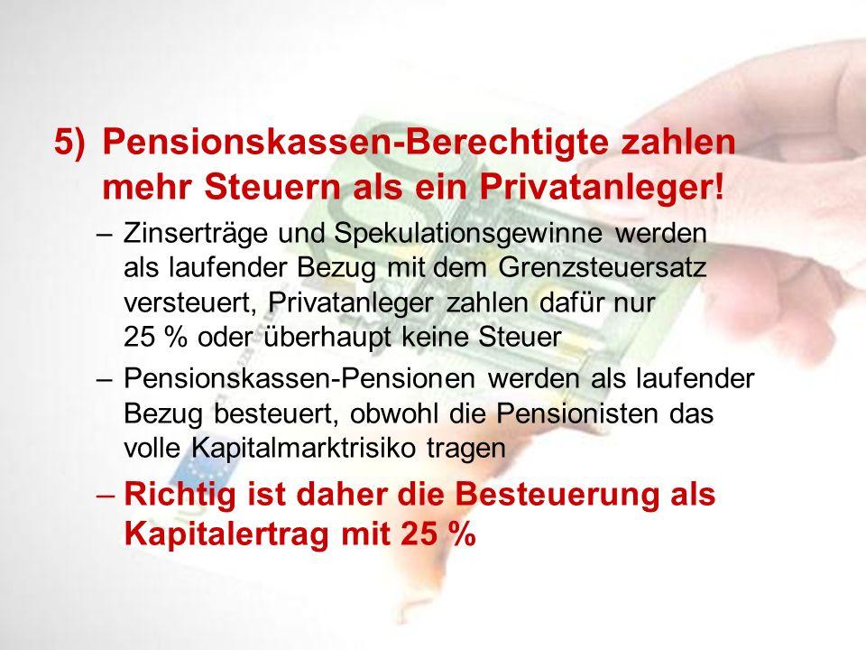 5)Pensionskassen-Berechtigte zahlen mehr Steuern als ein Privatanleger! –Zinserträge und Spekulationsgewinne werden als laufender Bezug mit dem Grenzs