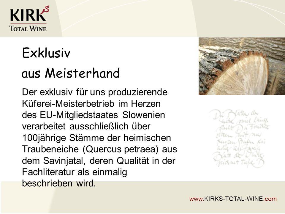 Exklusiv Der exklusiv für uns produzierende Küferei-Meisterbetrieb im Herzen des EU-Mitgliedstaates Slowenien verarbeitet ausschließlich über 100jährige Stämme der heimischen Traubeneiche (Quercus petraea) aus dem Savinjatal, deren Qualität in der Fachliteratur als einmalig beschrieben wird.