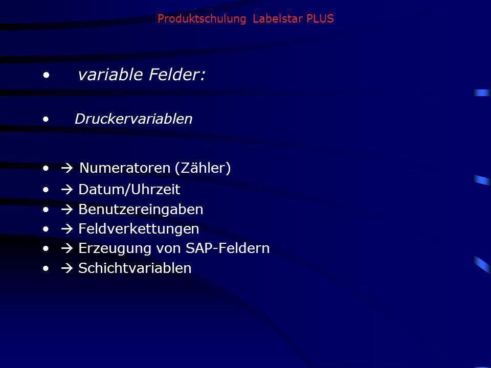 Produktschulung Labelstar PLUS variable Felder: Druckervariablen Numeratoren (Zähler) Datum/Uhrzeit Benutzereingaben Feldverkettungen Erzeugung von SA