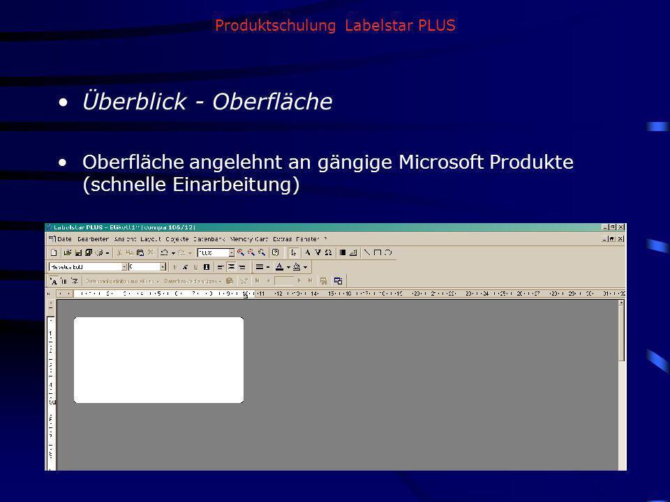 Produktschulung Labelstar PLUS Überblick - Oberfläche Oberfläche angelehnt an gängige Microsoft Produkte (schnelle Einarbeitung)