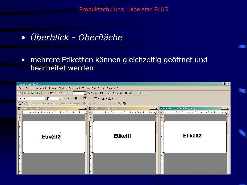Produktschulung Labelstar PLUS Überblick - Oberfläche mehrere Etiketten können gleichzeitig geöffnet und bearbeitet werden