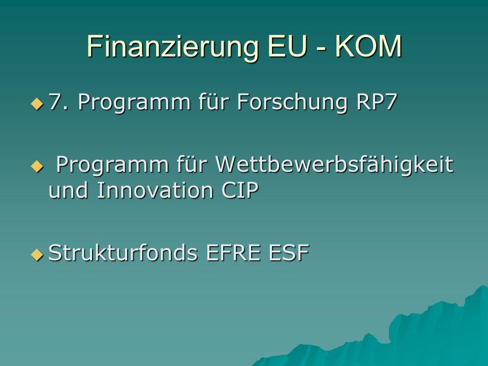 Finanzierung EU - KOM 7.Programm für Forschung RP7 7.