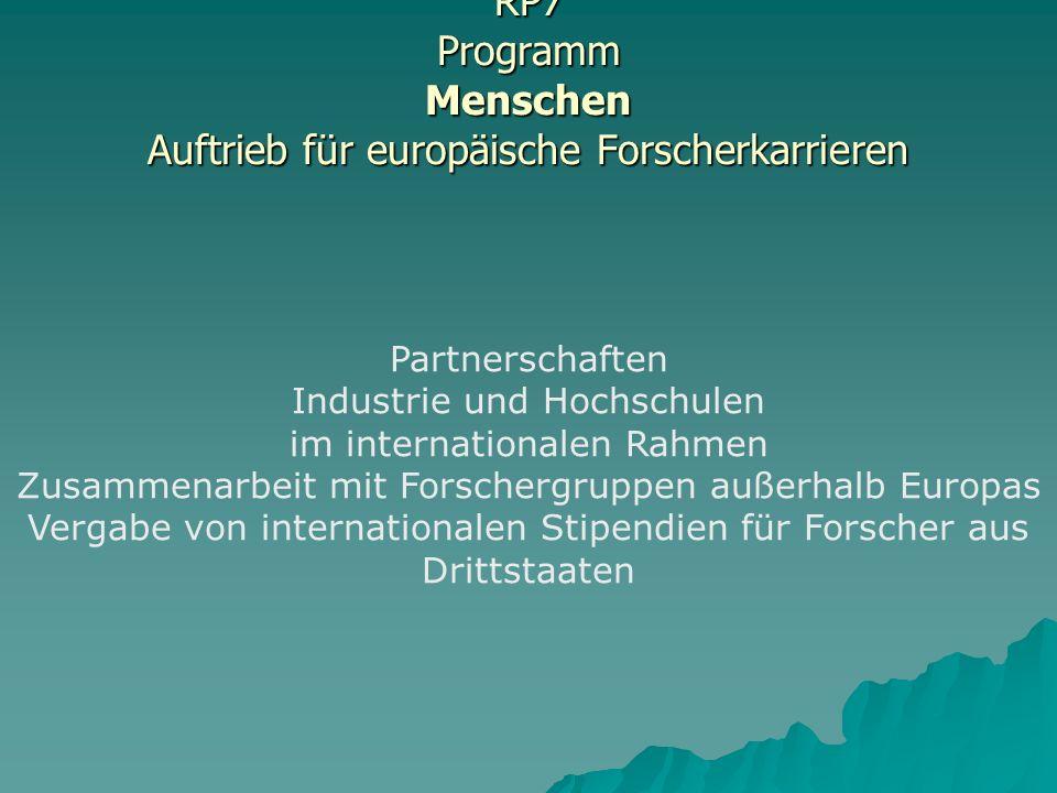 RP7 Programm Menschen Auftrieb für europäische Forscherkarrieren Partnerschaften Industrie und Hochschulen im internationalen Rahmen Zusammenarbeit mit Forschergruppen außerhalb Europas Vergabe von internationalen Stipendien für Forscher aus Drittstaaten