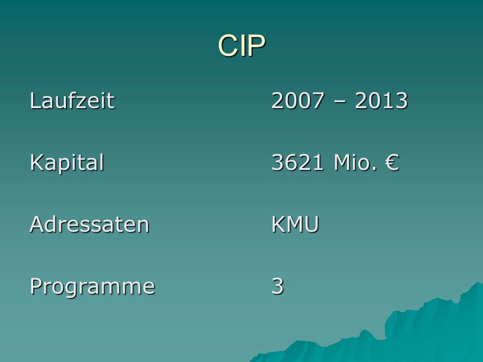 CIP Laufzeit2007 – 2013 Kapital3621 Mio. Kapital3621 Mio. AdressatenKMU Programme3