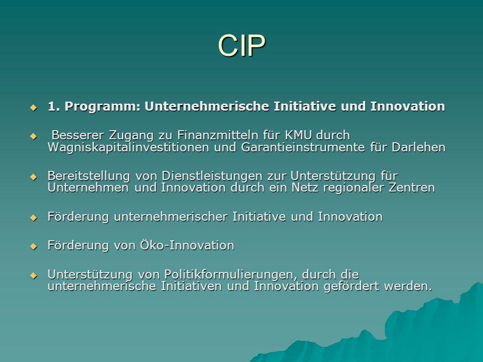 CIP 1.Programm: Unternehmerische Initiative und Innovation 1.