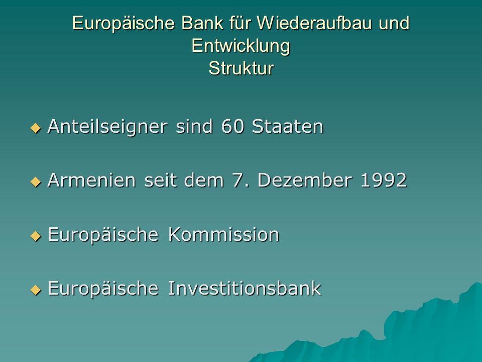 Europäische Bank für Wiederaufbau und Entwicklung Struktur Anteilseigner sind 60 Staaten Anteilseigner sind 60 Staaten Armenien seit dem 7.