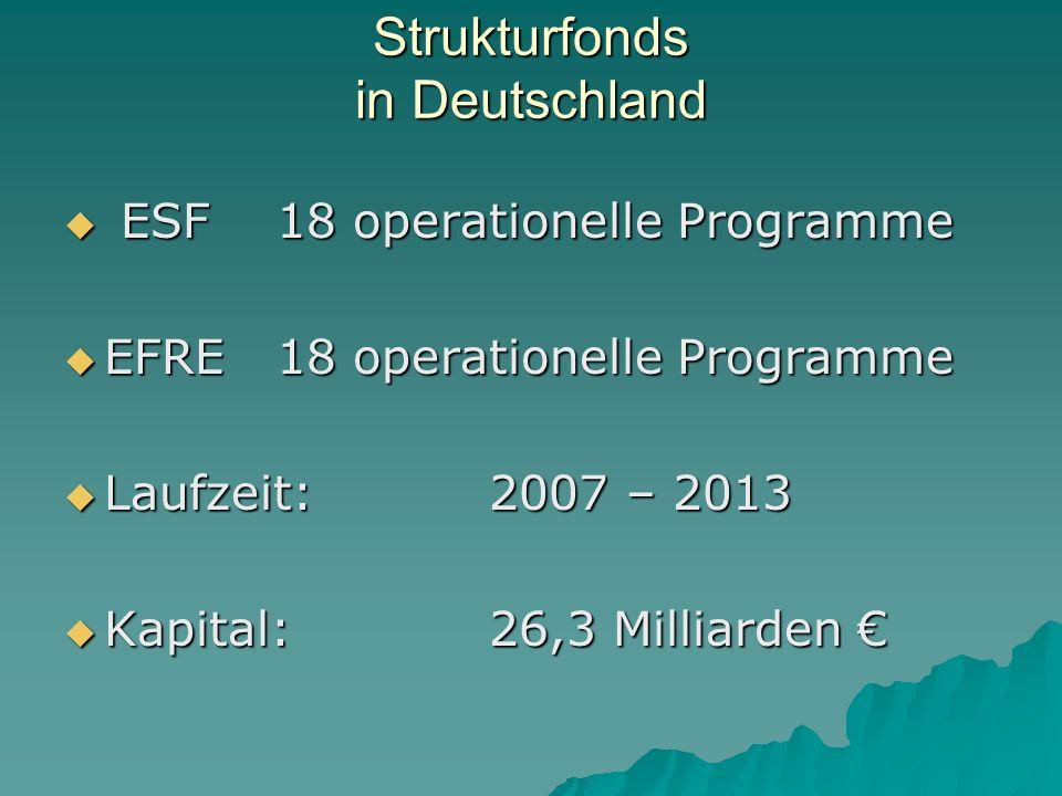 Strukturfonds in Deutschland ESF18 operationelle Programme ESF18 operationelle Programme EFRE18 operationelle Programme EFRE18 operationelle Programme Laufzeit: 2007 – 2013 Laufzeit: 2007 – 2013 Kapital:26,3 Milliarden Kapital:26,3 Milliarden