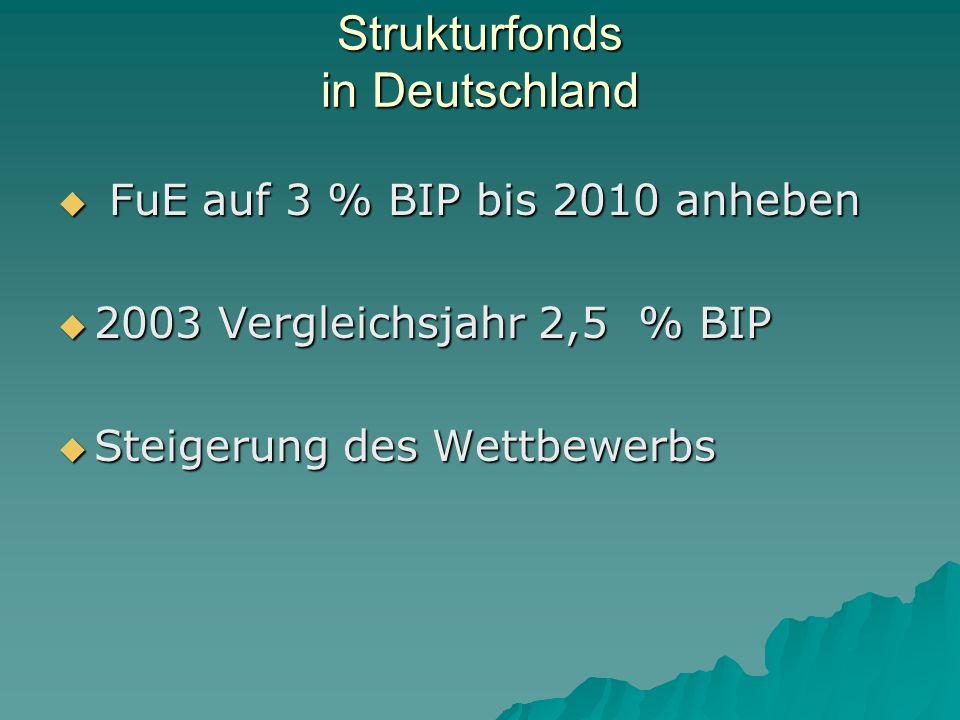 Strukturfonds in Deutschland FuE auf 3 % BIP bis 2010 anheben FuE auf 3 % BIP bis 2010 anheben 2003 Vergleichsjahr 2,5 % BIP 2003 Vergleichsjahr 2,5 % BIP Steigerung des Wettbewerbs Steigerung des Wettbewerbs