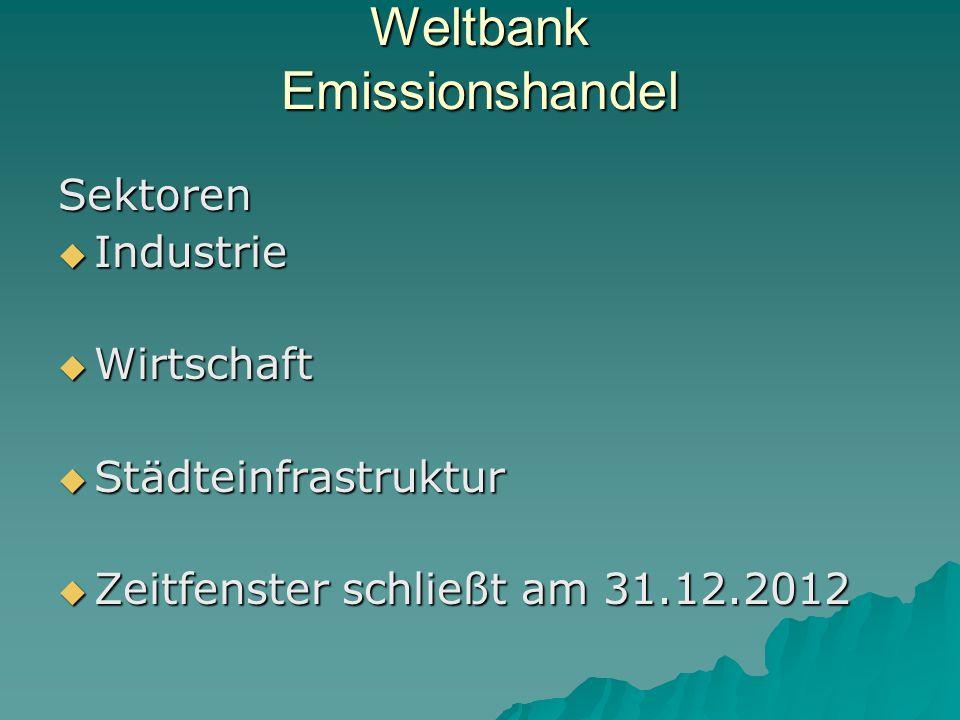 Weltbank Emissionshandel Sektoren Industrie Industrie Wirtschaft Wirtschaft Städteinfrastruktur Städteinfrastruktur Zeitfenster schließt am 31.12.2012 Zeitfenster schließt am 31.12.2012