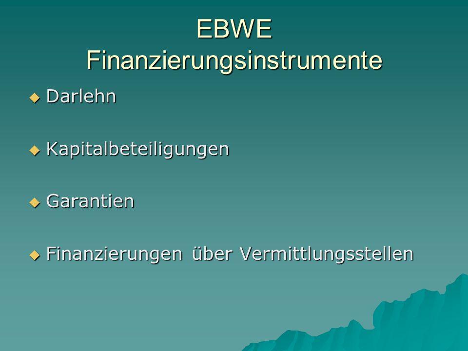 EBWE Finanzierungsinstrumente Darlehn Darlehn Kapitalbeteiligungen Kapitalbeteiligungen Garantien Garantien Finanzierungen über Vermittlungsstellen Finanzierungen über Vermittlungsstellen