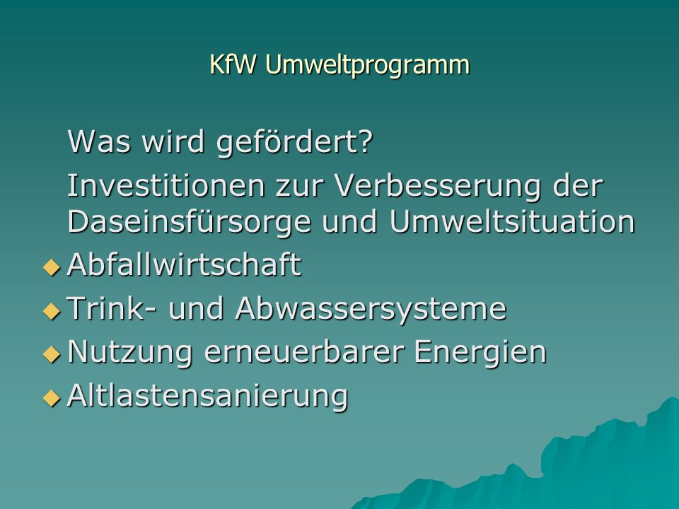 KfW Umweltprogramm Was wird gefördert.