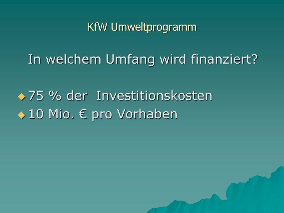 KfW Umweltprogramm In welchem Umfang wird finanziert.