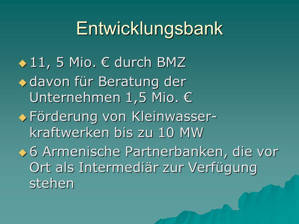 Entwicklungsbank 11, 5 Mio.durch BMZ 11, 5 Mio.