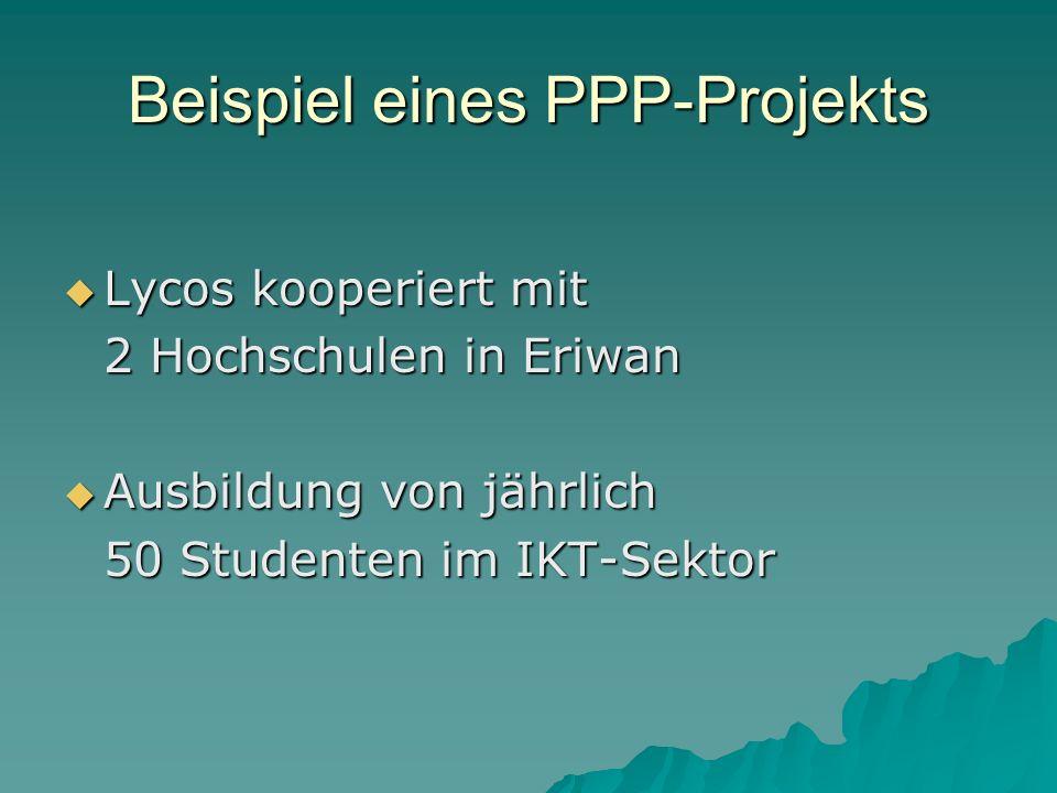 Beispiel eines PPP-Projekts Lycos kooperiert mit Lycos kooperiert mit 2 Hochschulen in Eriwan Ausbildung von jährlich Ausbildung von jährlich 50 Studenten im IKT-Sektor