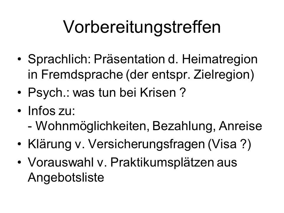 Vorbereitungstreffen Sprachlich: Präsentation d. Heimatregion in Fremdsprache (der entspr. Zielregion) Psych.: was tun bei Krisen ? Infos zu: - Wohnmö