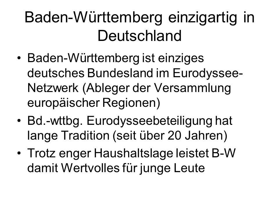 Baden-Württemberg einzigartig in Deutschland Baden-Württemberg ist einziges deutsches Bundesland im Eurodyssee- Netzwerk (Ableger der Versammlung euro