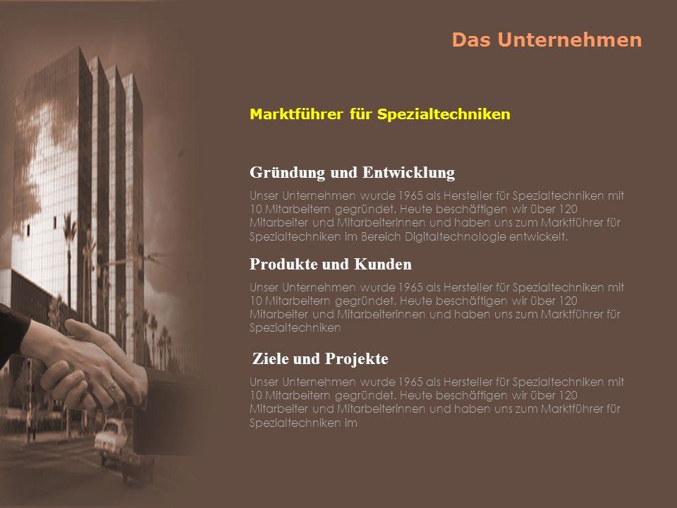 Gründung und Entwicklung Unser Unternehmen wurde 1965 als Hersteller für Spezialtechniken mit 10 Mitarbeitern gegründet.