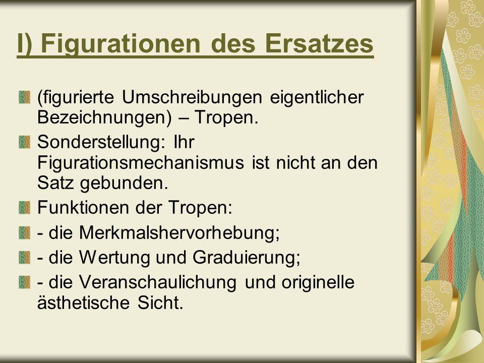 Figurationen des Ersatzes (Fortsetzung) 1) Periphrase – eine Umschreibung, die für die eigentliche Bezeichnung eine explizit erweiterte Gattungsbezeichnung setzt, z.B.: großer Teich – Atlantik; Herr der Taiga – Tiger.
