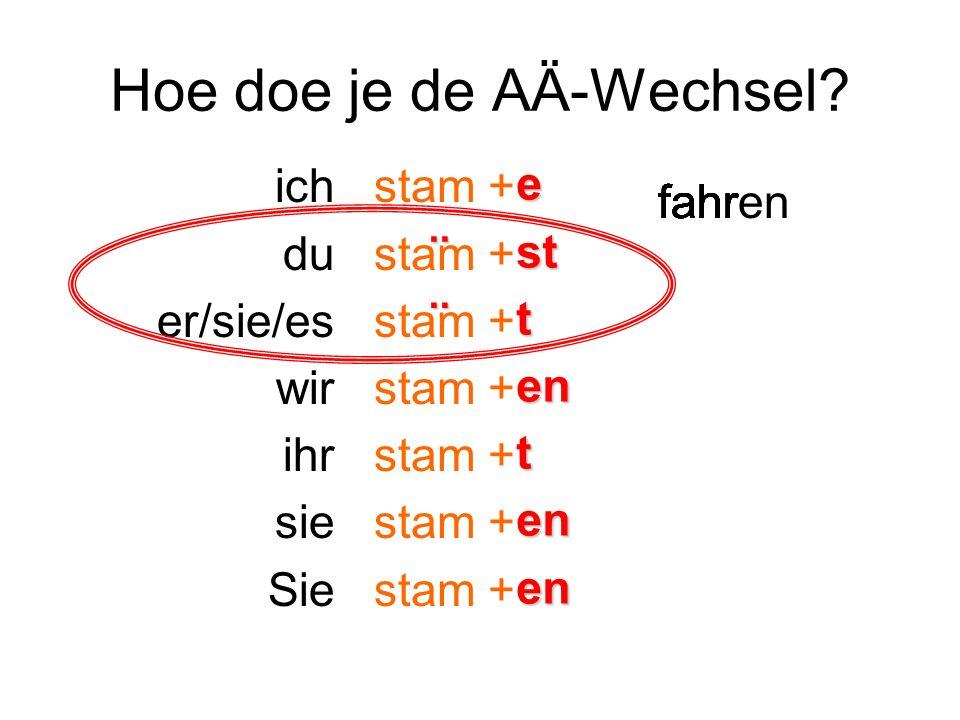 Wanneer doe je A/Ä-Wechsel.Sterk Werkwoord. ja nee Welke klinker in de stam.
