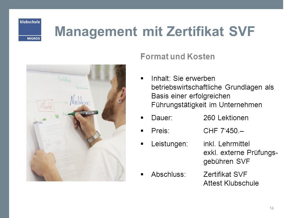 Management mit Zertifikat SVF Format und Kosten Inhalt: Sie erwerben betriebswirtschaftliche Grundlagen als Basis einer erfolgreichen Führungstätigkei