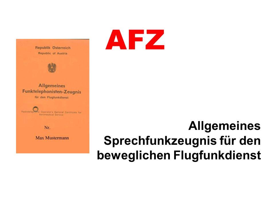 AFZ Allgemeines Sprechfunkzeugnis für den beweglichen Flugfunkdienst