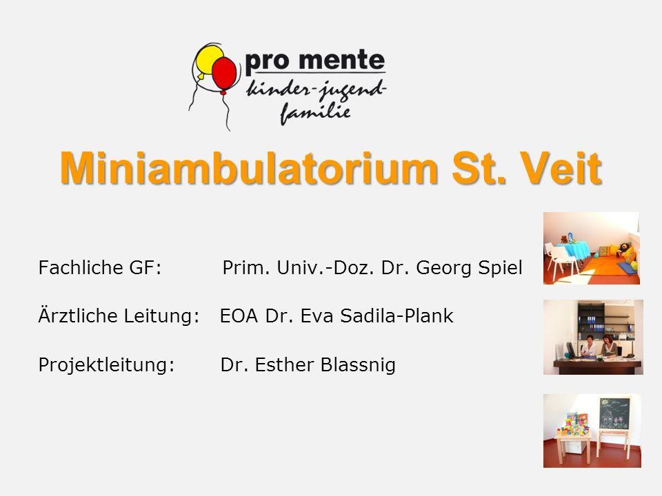 Miniambulatorium St. Veit Fachliche GF: Prim. Univ.-Doz. Dr. Georg Spiel Ärztliche Leitung: EOA Dr. Eva Sadila-Plank Projektleitung: Dr. Esther Blassn