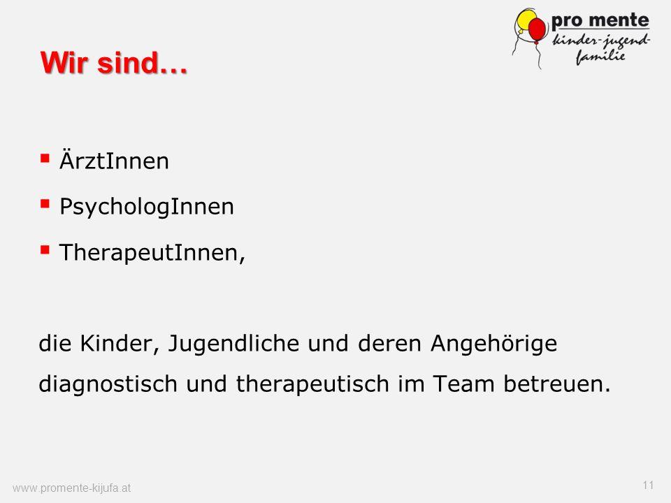 Wir sind… ÄrztInnen PsychologInnen TherapeutInnen, die Kinder, Jugendliche und deren Angehörige diagnostisch und therapeutisch im Team betreuen. 11 ww