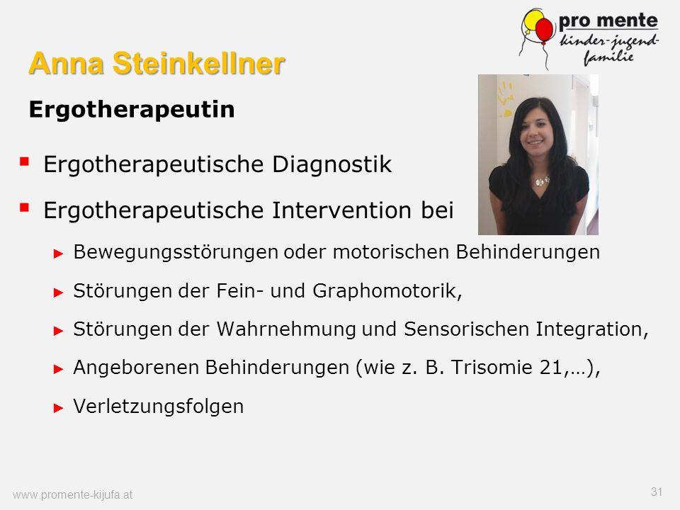 Anna Steinkellner Anna Steinkellner Ergotherapeutin Ergotherapeutische Diagnostik Ergotherapeutische Intervention bei Bewegungsstörungen oder motorisc