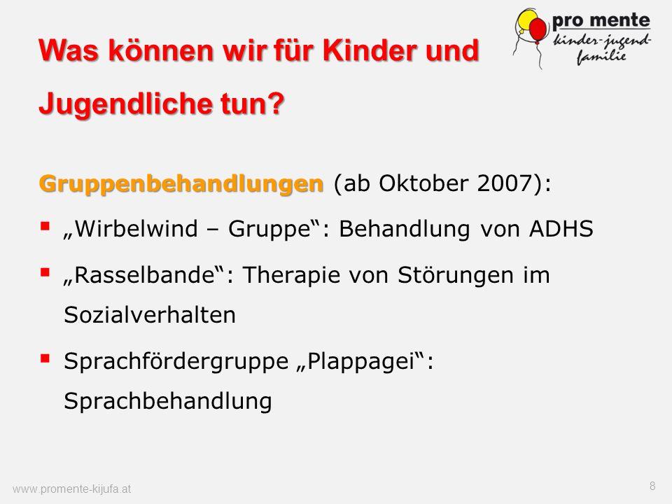 Was können wir für Kinder und Jugendliche tun? Gruppenbehandlungen Gruppenbehandlungen (ab Oktober 2007): Wirbelwind – Gruppe: Behandlung von ADHS Ras