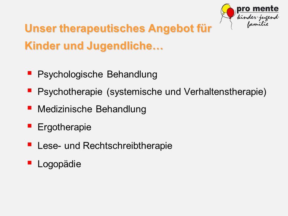 Psychologische Behandlung Psychotherapie (systemische und Verhaltenstherapie) Medizinische Behandlung Ergotherapie Lese- und Rechtschreibtherapie Logo