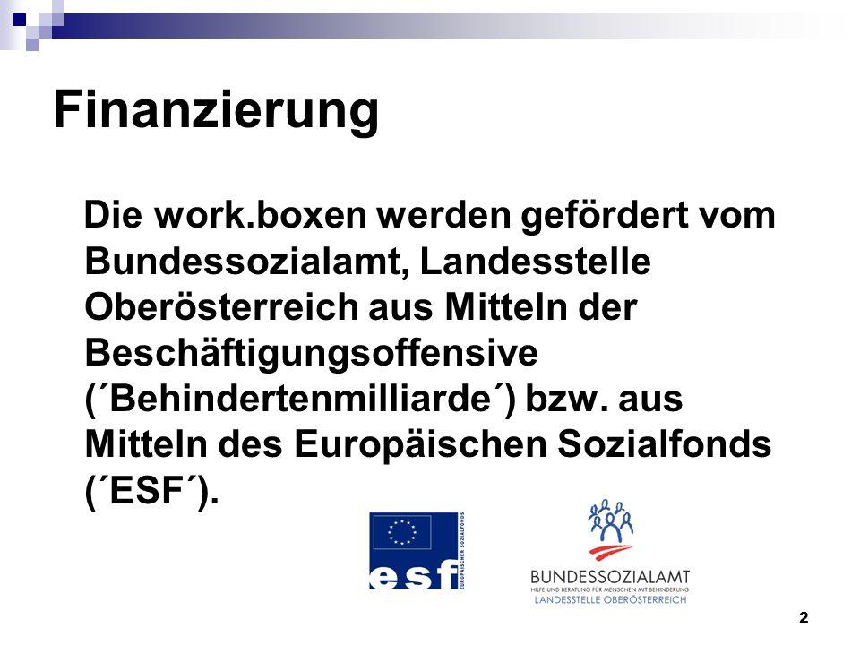 2 Finanzierung Die work.boxen werden gefördert vom Bundessozialamt, Landesstelle Oberösterreich aus Mitteln der Beschäftigungsoffensive (´Behindertenmilliarde´) bzw.