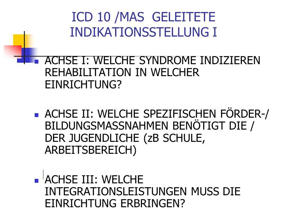 ICD 10 /MAS GELEITETE INDIKATIONSSTELLUNG I ACHSE I: WELCHE SYNDROME INDIZIEREN REHABILITATION IN WELCHER EINRICHTUNG.