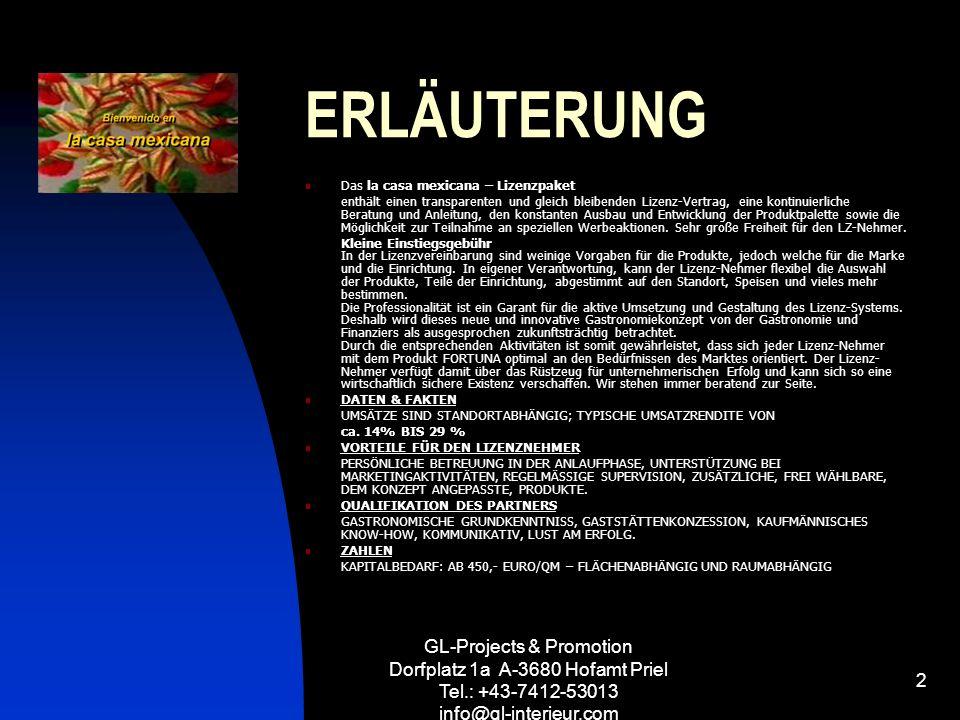 GL-Projects & Promotion Dorfplatz 1a A-3680 Hofamt Priel Tel.: +43-7412-53013 info@gl-interieur.com 2 ERLÄUTERUNG Das la casa mexicana – Lizenzpaket e