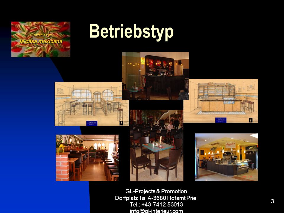 GL-Projects & Promotion Dorfplatz 1a A-3680 Hofamt Priel Tel.: +43-7412-53013 info@gl-interieur.com 3 Betriebstyp